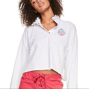 PINK Quarter Snap Cropped Beach Pullover